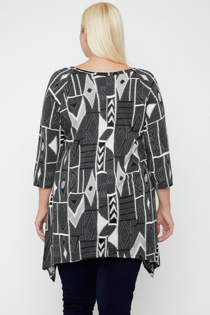 Sharp Tunic with a Shark Bite Hem in Modern Geometric Print - You-nique Bou-tique