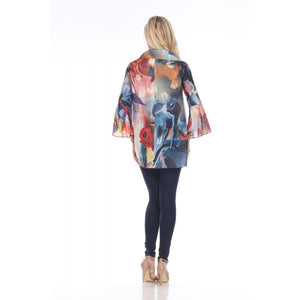 Colorful 3 Button Tunic or Jacket with Bell Sleeves & Pockets - You-nique Bou-tique