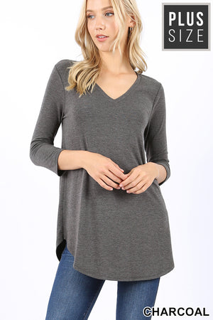 17 Color Ways - Super Comfy 3/4 Sleeve Relaxed Fit  V-Neck T-Shirt - You-nique Bou-tique