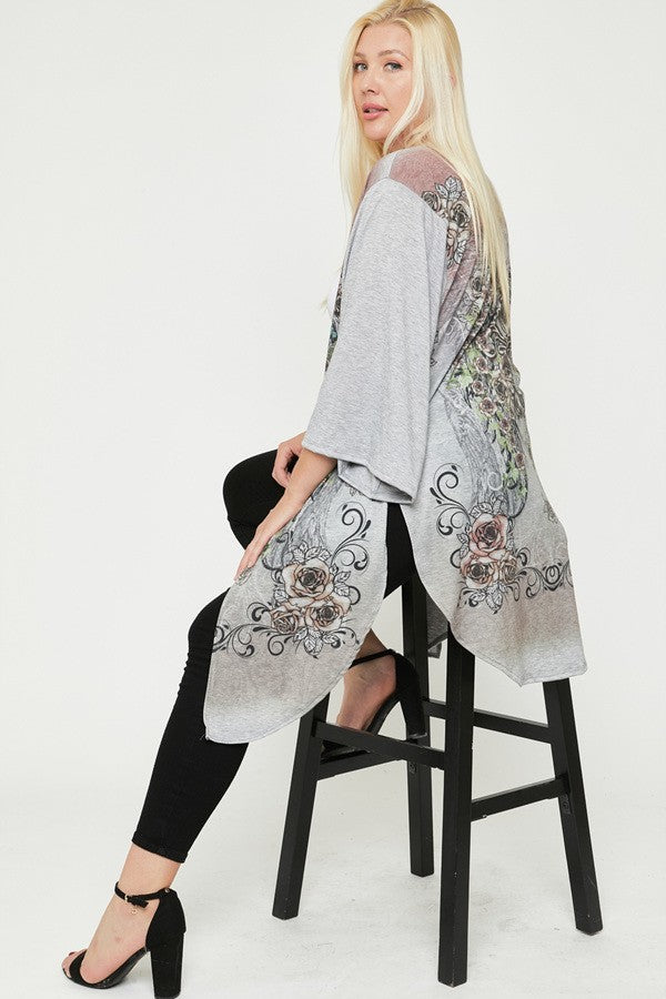 Lightweight Long Cardigan with Floral Print - You-nique Bou-tique