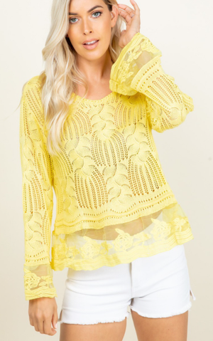 3 Color Ways - Lightweight Open Weave Transitional Sweater with Beautiful Lace Trim - You-nique Bou-tique