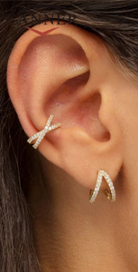 Criss Cross Pave' CZ's in Gold or Silver Ear Cuff - You-nique Bou-tique