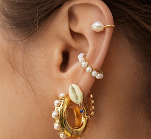 Single Pearl Ear Cuff Set in Gold - You-nique Bou-tique