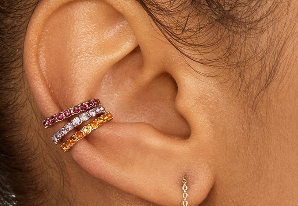 6 Color Ways - Solid Color Rhinestone Single Ear Cuff in Gold - You-nique Bou-tique