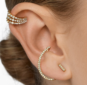 Sparkling 3 Tiered Ear Cuff in Gold - You-nique Bou-tique