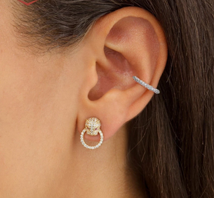 Pave' Set CZ's in Gold or Silver Ear Cuff - You-nique Bou-tique