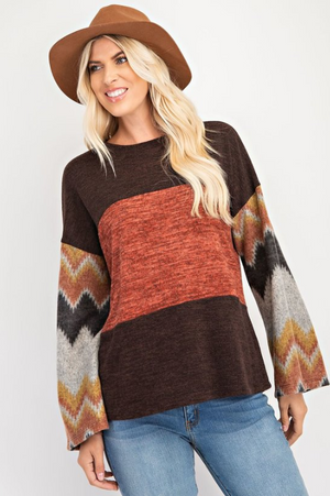 Super Soft, Warm & Casual Print Top with Slight Bell Sleeves - You-nique Bou-tique