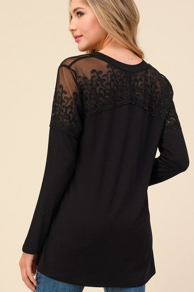 Stunning Lace Contrast Top with Silver Glitter and V Neckline - You-nique Bou-tique
