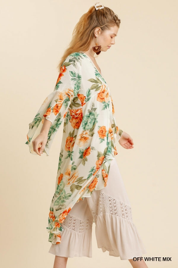 Long Floral Kimono with One Button Closure & Bell Sleeves