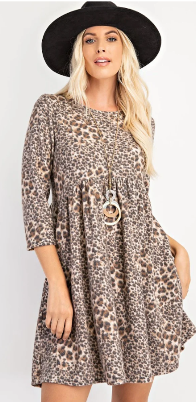 Fun Brown Animal Print Tunic in a So-Soft Brushed French Terry - You-nique Bou-tique