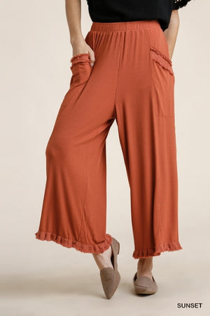 Loose Fitting Soft Ribbed Pants with Frayed Hem & Pockets