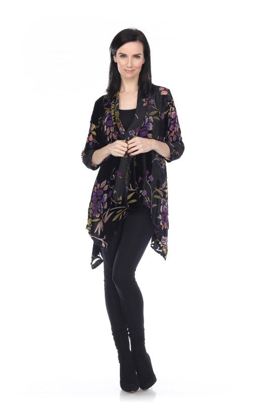 Mixed Velvet Accents with Shades of Purple Floral Jacket - You-nique Bou-tique