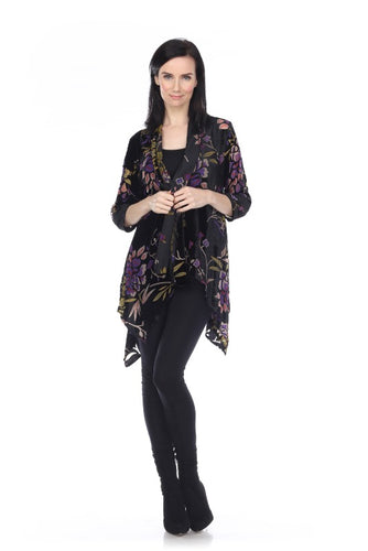 Mixed Velvet Accents with Shades of Purple Floral Jacket