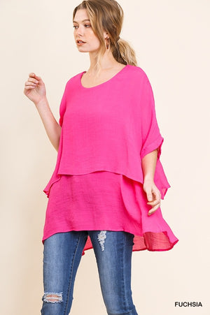 2 Color Ways - Layered & Flowy Top with Cuffed Sleeves - You-nique Bou-tique