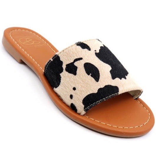 Cow Print Slide Sandal - You-nique Bou-tique