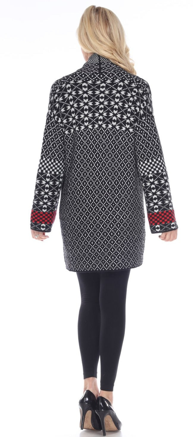 Black & White Sweater Cardigan with Red Accent on the Sleeves - You-nique Bou-tique