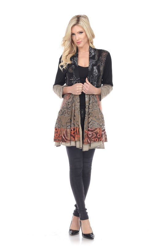 Mixed Print Jacket in Earth Tones - You-nique Bou-tique