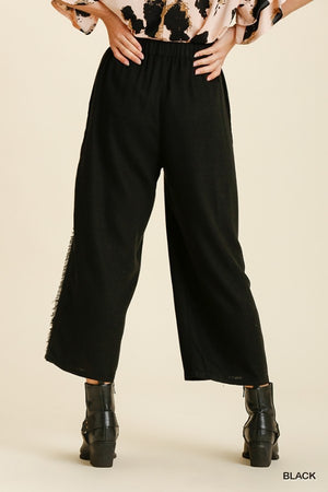 2 Color Ways - Cute Crop Pant with Elastic Waist, Pockets & Frayed Seam Detail - You-nique Bou-tique