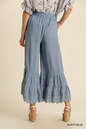 Wide Leg Pant with Eyelet Detail Ruffle, Pockets & Elastic Waist