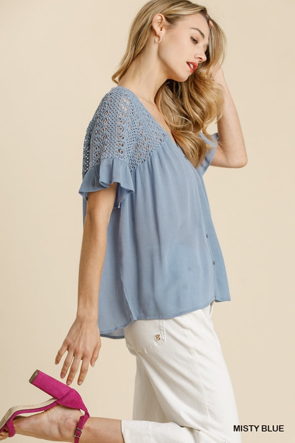 2 Color Ways - V Neck Button Down Top with Short Ruffle Sleeves and Crochet Shoulder & Back Detail