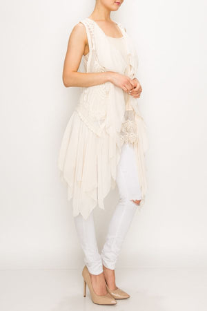 Beautiful Tiered Chiffon Vest with Waterfall Front & Embroidered Back - You-nique Bou-tique
