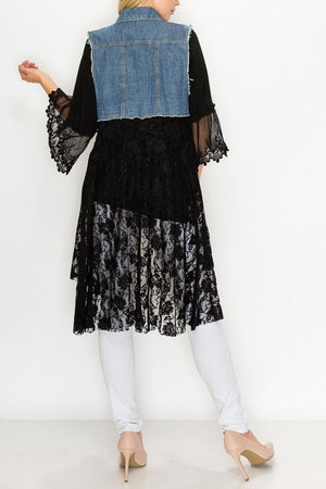 Distressed Denim Vest with Black Lace Bottom - You-nique Bou-tique