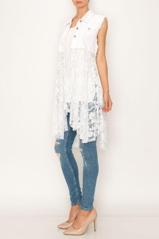 Fabulous Distressed White Denim Vest with Lace Bottom - You-nique Bou-tique