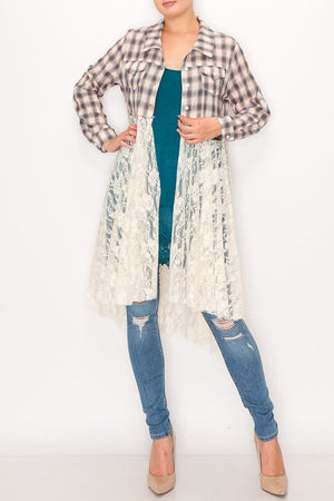 Fun Plaid Long Sleeve Jacket with Lace Bottom & Roll Tab Sleeves - You-nique Bou-tique