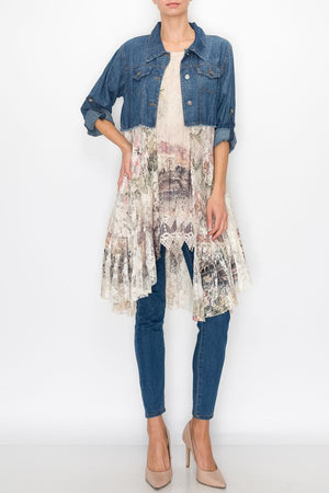 Denim Jacket with Sleeves, Pockets and Gorgeous Italy Print Lace Bottom - You-nique Bou-tique