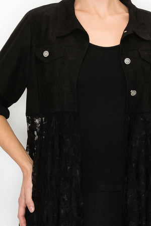 Black Ultra Suede Jacket with Long Lace Bottom - You-nique Bou-tique