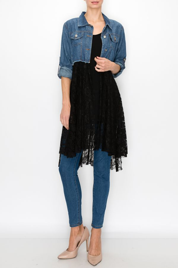 Denim Jacket with Sleeves, Pockets and Long Black Lace Bottom - You-nique Bou-tique