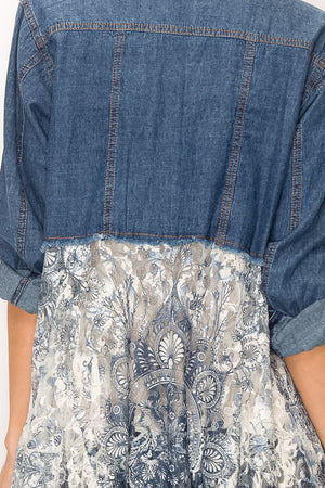 Long Sleeve Denim Jacket with Gorgeous Grey/Blue Printed Lace Bottom - You-nique Bou-tique