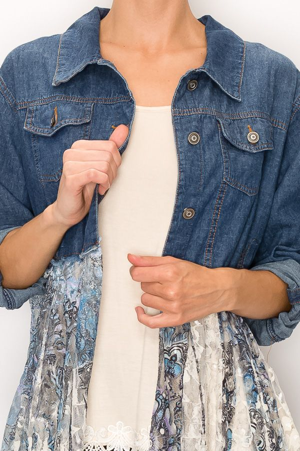 Long Sleeve Denim Jacket with Gorgeous Blue/Lavender Printed Lace Bottom - You-nique Bou-tique