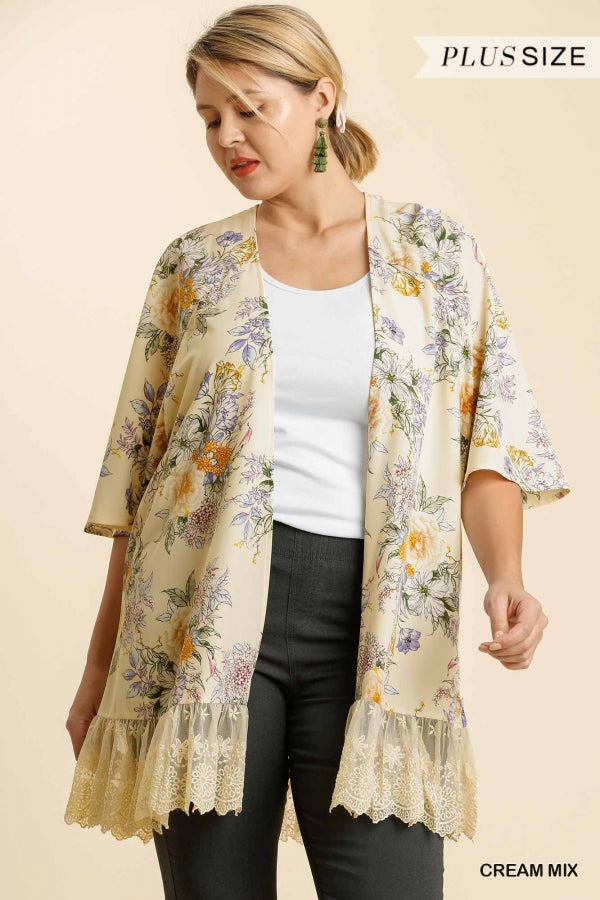 Oh So Soft Jacket with Gorgeous Lace Trim & Stunning Floral Print on Butter Yellow