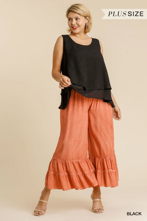 5 Color Ways - Simple Sleeveless Layered Top with Keyhole Button Back