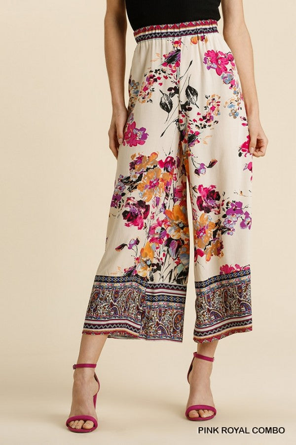 2 Color Ways - Fun Cropped Palazzo Pants with Floral Print & Elastic Waist - You-nique Bou-tique