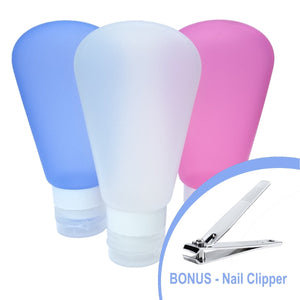Silicone Travel Bottle Set from Bye JoJo,  (3oz Each Pack of 3 White Pink Blue)  INCL BONUS  Nail Clipper & Carry Case