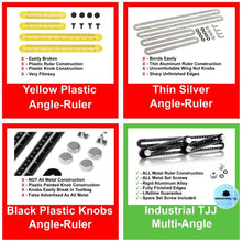 By Industrial TJJ, NEW IMPROVED All Metal Multi-Angle Ruler Template Tool INCL BONUS Spare Set Bolt