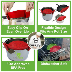 By Chef JoJo, NEW IMPROVED Clip and Strain No-hands Clip-On Silicone Strainer Colander.  INCLUDES BONUS set of Silicone Oven Mini Mitts