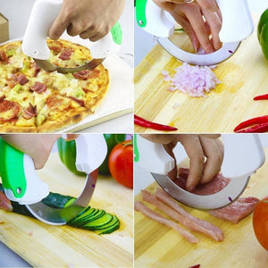 Rolling Knife Circular Kitchen Cutter, Great for Meat, Vegetables, Salad, and Pizza