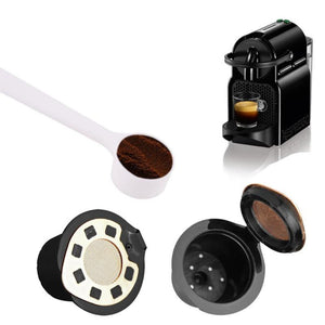 2pcs Refillable Reusable Coffee Capsule Filter Compatible with Nespresso (with Coffee Spoon)