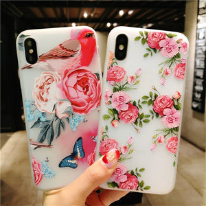 Flower Case For iPhone XS XS Max XR 3D Relief Rose