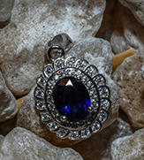 Sterling Silver Royal Dark Blue Rhod