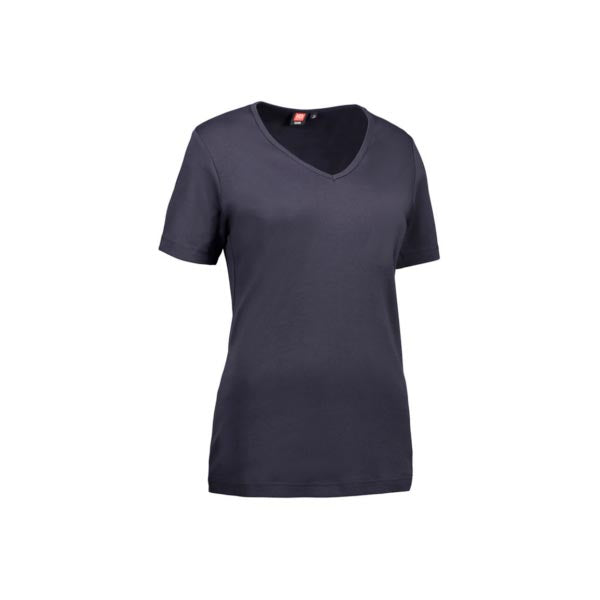 Interlock Dame T-shirt m. V-hals