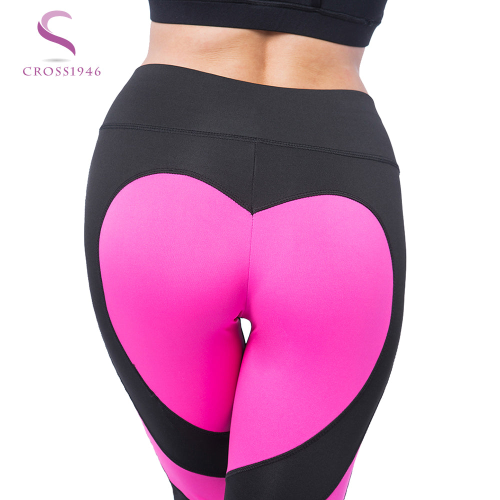 0b5a3629f5ec1 CROSS1946 Sexy Woman Heart-shaped Yoga Pants Fitness Hips Push Up Leggings  Sport Running Tight