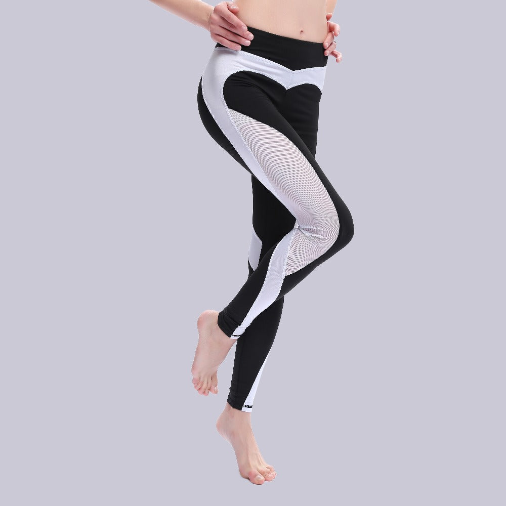 b9b7a2c99118f Double Heart Pattern Leggings Women Fitness Workout Sporting Pants  Breathable Elastic Waist Gyming Exercise Clothing For