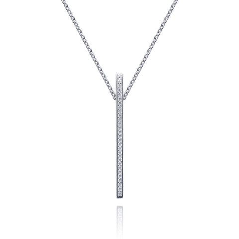 CZ Vertical Bar Necklace - Kigmay Jewelry - New York