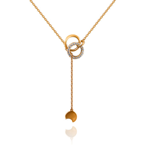 Interlocking Circle Lariat Necklace - Kigmay Jewelry - New York
