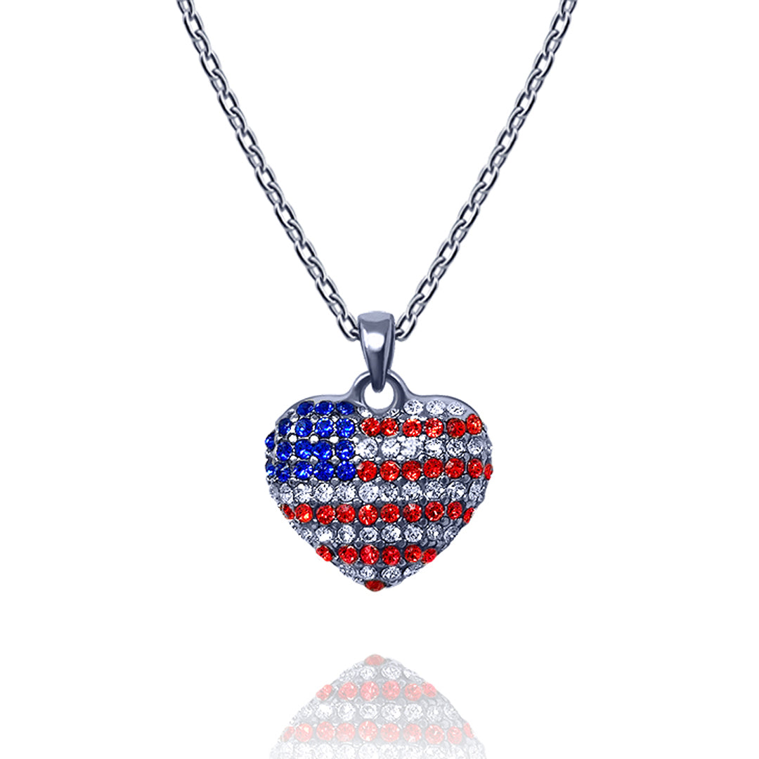 red white wood heart silver sterling usa necklace blue product american flag