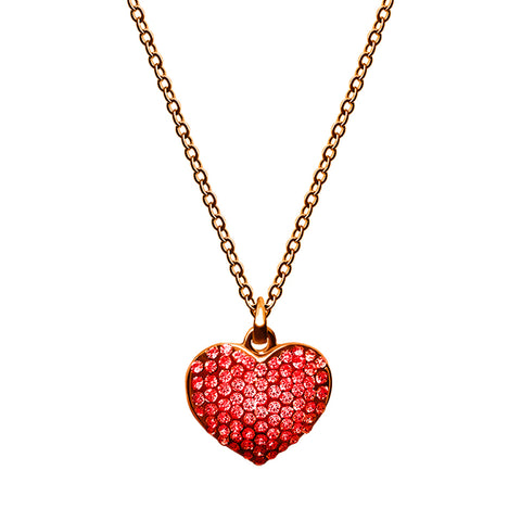 Red Rhinestone Heart Necklace - Kigmay Jewelry - New York
